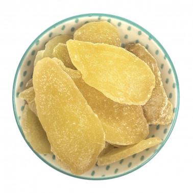 Zenzero disidratato senza zucchero cristallizzato (con zucchero a velo) a fette